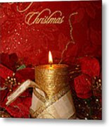 Candle Light Christmas Card Metal Print