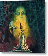 Candle Light Mother Child Faces In Yellow Candle Light Blue Red Background  Metal Print
