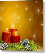 Candles Decorated Branches Of A Pine Tree And Fir Cones Metal Print