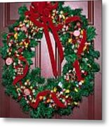 Candy Christmas Wreath Metal Print