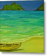 Canoe At Lanikai Beach Metal Print