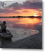 Canoe At Sunset Metal Print