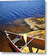 Canoe On Shore Metal Print by Elena Elisseeva