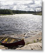 Canoe Pulled Up On The Shore Metal Print