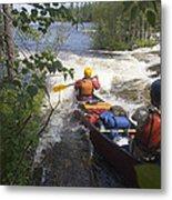 Canoeists Run A Rapid On The Winisk Metal Print