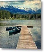 Canoes At Dock On Mountain Lake Metal Print by Jill Battaglia