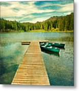 Canoes At The End Of The Dock Metal Print