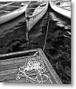 Canoes Docked At Lost Lake Metal Print