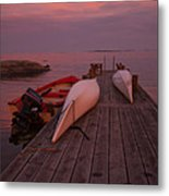 Canoes On Jetty Metal Print