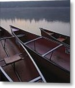 Canoes On Still Water Metal Print