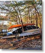 Canoes Resting Metal Print