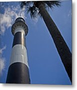 Cape Canaveral Lighthouse With Palm Tree Metal Print