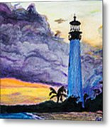 Cape Florida Lighthouse Metal Print