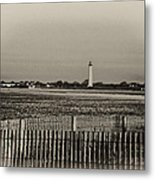 Cape May Light House In Sepia Metal Print