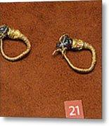 Caprine-head Earrings Metal Print by Andonis Katanos