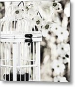 Captured Spring In Black And White Metal Print