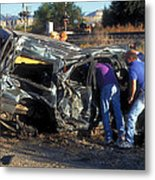 Car Hit By American Orient Express Metal Print