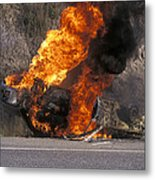 Car In Flames Metal Print by Kaj R. Svensson