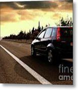 Car On The Road During Sunset Metal Print