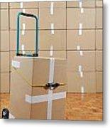 Cardboard Box On Dolly Metal Print