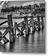 Cardiff Bay Old Jetty Supports Mono Metal Print