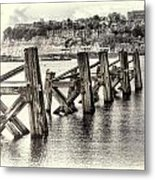 Cardiff Bay Old Jetty Supports Opal Metal Print