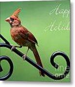 Cardinal Holiday Card Metal Print