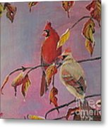 Cardinals In Falls Metal Print