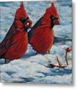 Cardinals In Winter Metal Print by Tracey Hunnewell