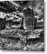 Carew Castle Pembrokeshire 4 Mono Metal Print