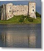 Carew Castle Reflections Metal Print