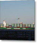 Cargo Ship In Seattle Metal Print