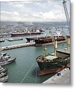 Cargo Ships In Port Metal Print