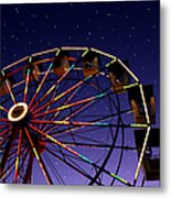 Carnival Ferris Wheel Against Starry Night Sky Metal Print by Heather Cate Photography
