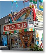 Carnival Festival Fun Fair French Fries Food Stand Metal Print by Kathy Fornal