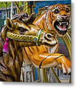 Carousal Camel And Tiger On A Merry-go-round Metal Print