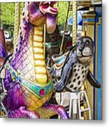 Carousal Dragon And Seal On A Merry-go-round Metal Print