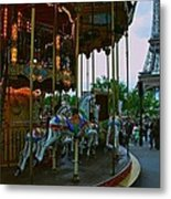 Carousel And Eiffel Tower Metal Print
