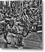 Carousel  Black And White Metal Print