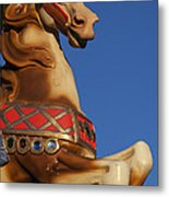 Carousel Horse Against Blue Sky Metal Print