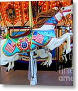 Carousel Horse With Flags Metal Print