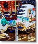 Carousel Horse With Leaves Metal Print