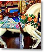 Carousel Horse With Roses Metal Print