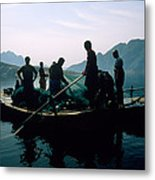 Carp Fishermen In Lake Formed By A Dam Metal Print