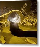 Carr Bridge At Night In Winter Metal Print by Duncan Shaw