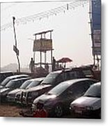 Cars In A Parking Lot At Surajkund Metal Print