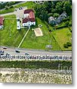 Cars Line Up At The Parking Lot At Chatham Lighthouse And Chatha Metal Print