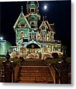 Carson Mansion At Christmas With Moon Metal Print