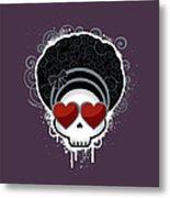 Cartoon Skull With Hearts As Eyes Metal Print by Sherrie Thai