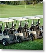 Carts Ready To Hit The Greens Metal Print